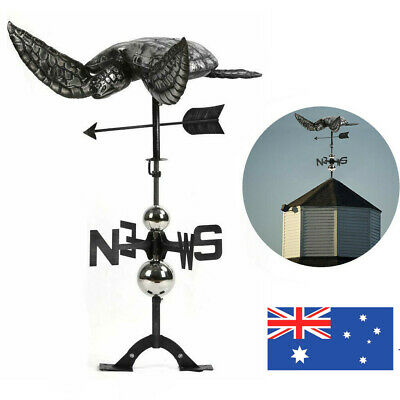 LARGE Handcrafted 3D 3-Dimensional Sea Turtle Weathervane Black Stainless Steel