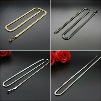 "Stainless 18"" to 24"" Long Men Flat Snake Chain Women Necklace 3mm-6mm Widths 1PC"
