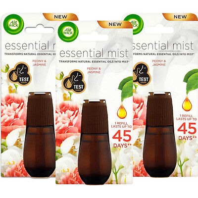Air Wick Essential Mist Oil Peony and Jasmine Refill, Pack of 3 x 60 ml