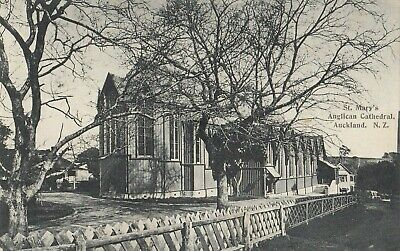 Postcard 1909 New Zealand St Mary's Anglican Cathedral 1/2d stamp  with variety
