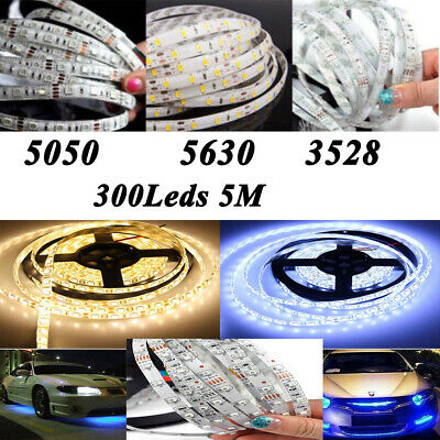 5M 300LED SMD 3528/5050/5630 Warm/White Flexible Strip Light+Power Supply