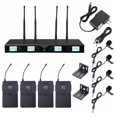 4 Channel Pro Condenser Headset Lavalier Lapel UHF Wireless Microphone System