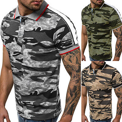 Fashion Men Camouflage Lapel T-Shirt Summer Muscle Sports Casual Tops Blouse Tee
