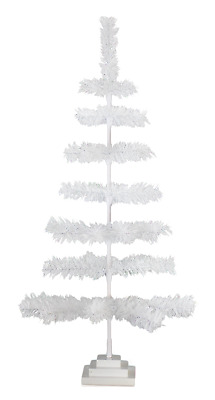 36'' White Christmas Tinsel Tree Tabletop Centerpiece Decorative Holiday 3FT