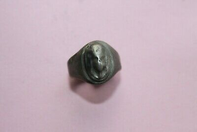 RARE  ANCIENT THRACIAN SILVER FINGER RING 3rd century BC HELMET
