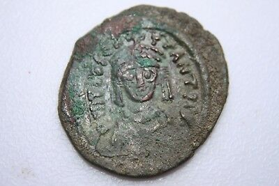 ANCIENT BYZANTINE TIBERIUS II CONSTANTINE BRONZE 3/4 FOLLIS COIN 6th CENTURY AD