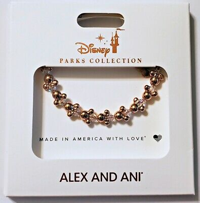 Disney Parks ALEX & ANI bracelet Mickey icons beaded crystal - gold tone - NEW