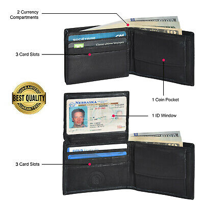 Kids Boys Slim Compact Coin Pocket Bifold Wallet Black By Leatherboss