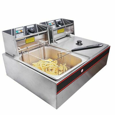 Commercial Electric Deep Fryer Twin Frying Basket Chip Cooker Fry Machine 12L
