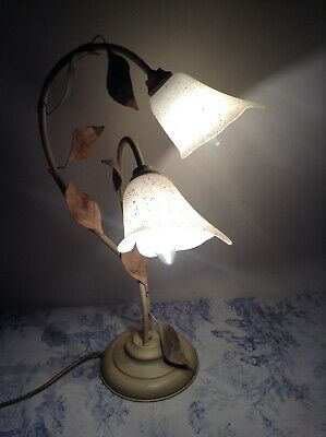 French / Italian Style Tole Table Lamp - Toleware Bedside Light (2156)