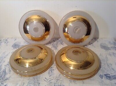 Set of 4 Vintage French Glass Retro Light / Lamp Shades - Gold Rimmed (3164)