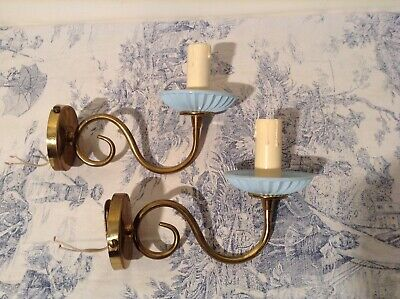 Pair Vintage French Flemish Style Wall Sconce Lights (2557)