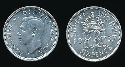 1937 George VI - Silver SIXPENCE...........Fast Post
