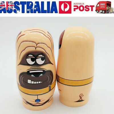 6Pcs/Set Wooden Dog Dolls Russian Nesting Stacking Dolls Hand Painted Toys New