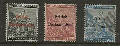 Bechuanaland  Sg 1/3  1885/7 Wmk Crown Ca/Crown Cc Series Of 3  Fine Used