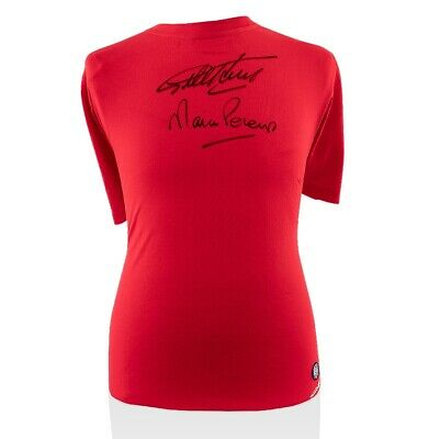 Sir Geoff Hurst & Martin Peters Signed England T-Shirt - Red Autograph