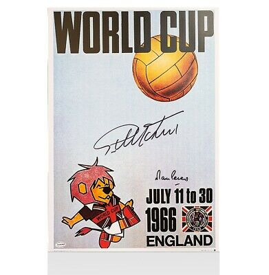 Sir Geoff Hurst & Martin Peters Signed 1966 World Cup Poster Autograph