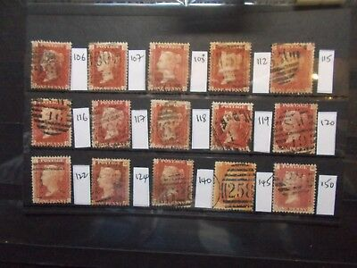 GB~1858~15 Diff~QV~1d Red Plates Good to Fine Used,cat £56~SG43~Lot G~ uk seller