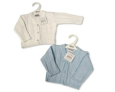 Baby Boys Cardigan Knitted V Neck Blue White Summer Button Up 0-3 6-12 12-18 07