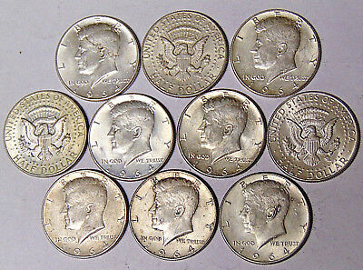 Lot of 10 1964 Kennedy Silver Half Dollars $5 Face Value 90% Silver Coins (1031)