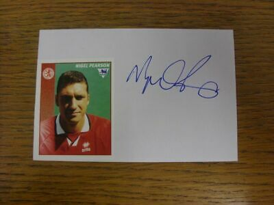 1996/1997 Autographed White Card: Middlesbrough - Pearson, Nigel  (Sticker laid