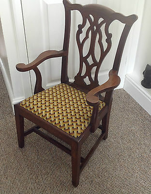 Antique Oak Georgian Style Childs Elbow Chair
