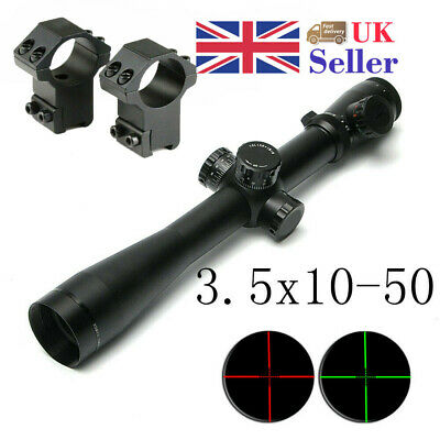 3.5-10x50 Riflescope Adjustable Red/Green Sight Scope Reticle For Airsoft  UK
