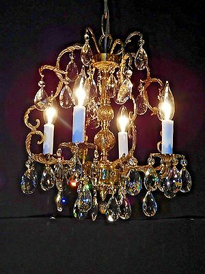 ANTIQUE French 4 Arm 4 Lite Brass Petite Birdcage Lead Cut Crystal Chandelier