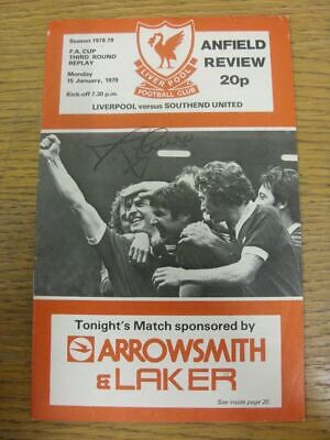 15/01/1979 Autographed Programme: Liverpool v Southend United [FA Cup Replay] Ha