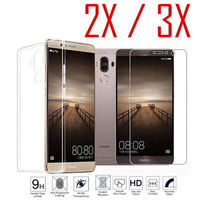 2X 3X Tempered Glass + Soft Silicone TPU Protective Case Cover For Huawei Phones