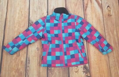 Girls Coat From Crane 6 Years Checkered Square Pattern Pink Purple & Blue