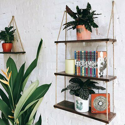 3Tier Rustic Solid Wood Rope Hanging Wall Floating Shelf Country Vintage Storage