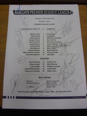 01/11/2011 Autographed Programme: West Bromwich Albion Reserves v Chelsea Reserv