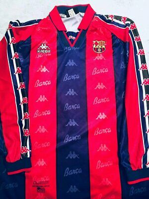 5ed601f0a63 Football shirt soccer Barcelona Home 1995 1996 1997 Kappa Jersey Camiseta  Long