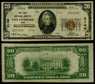 East Liverpool OH $20 1929 T-2 National Bank Note Ch #2146 First NB VF