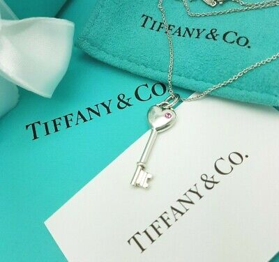 "Tiffany & Co Vintage Sterling Silver Pink Sapphire Heart Key Necklace 16"" Chain"