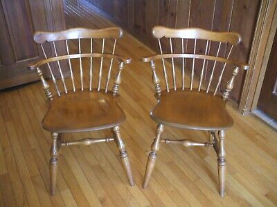 Pr. Vintage Ethan Allen Solid Maple Comb Back Dining Chairs Nutmeg