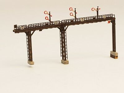 """Brass Z-scale 3 track overpass with signals """"one of a kind"""""""