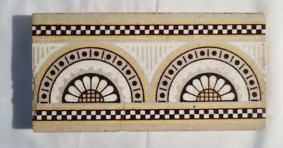 CHARMING aesthetic stylise half sunflower VICTORIAN BORDER TILE 6 X 3 INCHES
