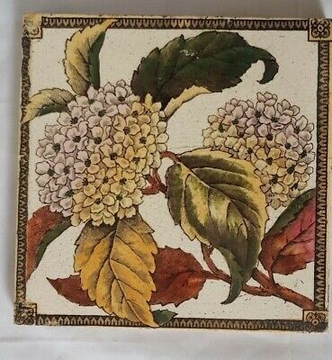 Charming English Floral Design 6 Inch Antique Tile