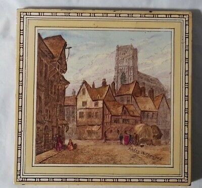 RODEZ CATHEDRAL LANDSCAPE SCENE minton large TILE, FRENCH INTEREST colourful