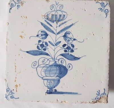 Antique Delft Tile From At Least 18Th Century  Ornate Flowers In Pot