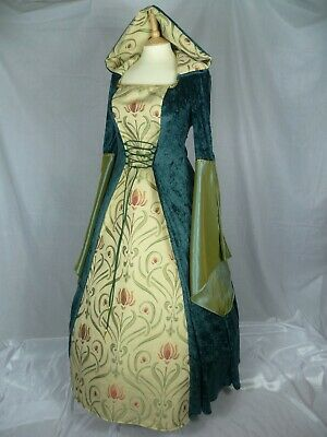 Green Medieval Hooded Wedding Dress Renaissance Gown CUSTOM MADE TO SIZE