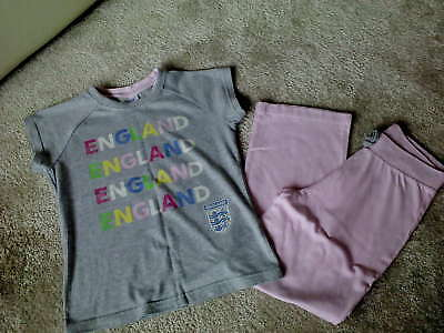 Girls 'ENGLAND' Pyjamas (7-8 Years) Very Good Condition NEXT/Official England