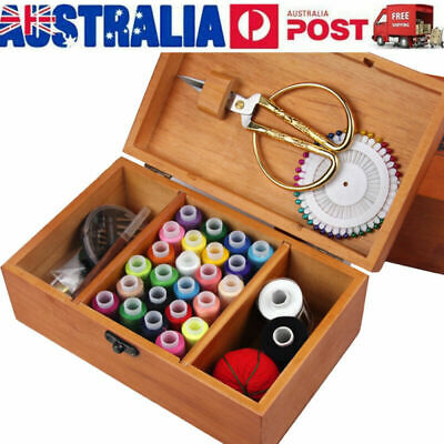 Sewing Wooden Storage Basket Box Gift Set Sewing Tool Kit Accessories Case AU
