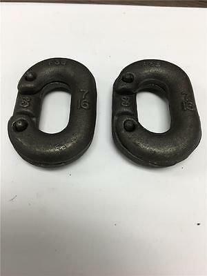 "Heavy Duty Industrial Hoist Link Chain Connector F3B 7/16"" Crosby USA 2PC LOT"
