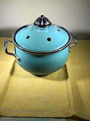 """Vintage Lincoware Small Pot with Lid Tiffany Blue 5"""" x 5"""""""