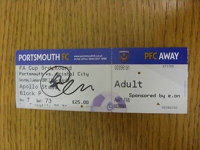 03/01/2009 Autographed Ticket: Portsmouth v Bristol City [FA Cup] - Hand Signed