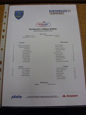 01/09/2012 Colour Teamsheet: Portsmouth v Oldham Athletic  . Thanks for viewing