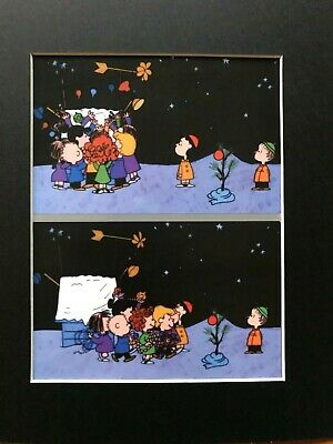 FRIEDA~LINUS & LUCY~DOG HOUSE DECORATION NIGHT~PEANUTS~8 x 10 Mat Print~NEW